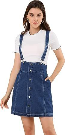 Allegra K Vestido De Tirantes Falda De Mezclilla Cintura Alta Botones Frontales Casual para Mujer