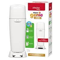 Playtex Baby Diaper Genie Elite Diaper Pail System with Front Tilt Pail for Easy Diaper Disposal, White