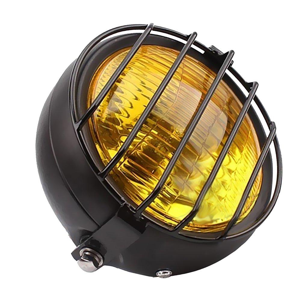 Baoblaze MOTO Phare Moto Lampe Frontale Style Vintage Avec Grille de Protection Pour Suzuki GN125