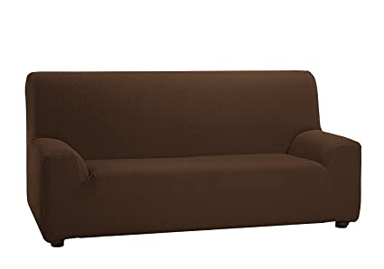 TEXTURAS VIP- Funda de sofá Elástica LOW COST (Varios tamaños disponibles)  (3_Plazas_180_210_cms, Marrón)