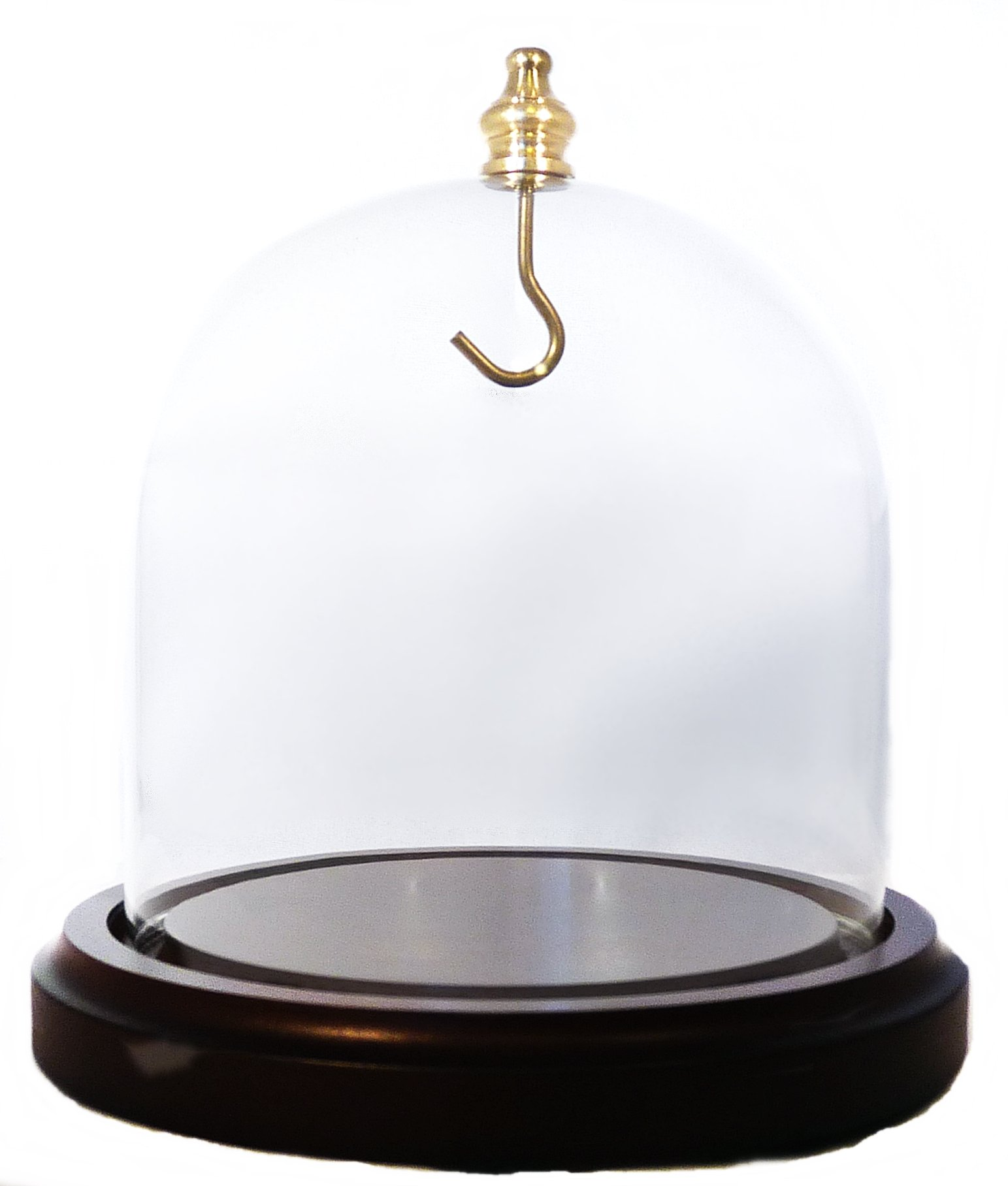 Large 4''x4'' Pocket Watch Glass Display Dome Walnut Base & Gold Hook by Dueber Watch Co