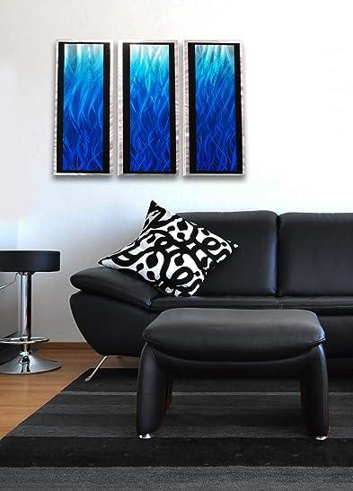 """Blue Flame 3D"" Modern Abstract Metal Wall Art Sculpture Painting Home Decor"