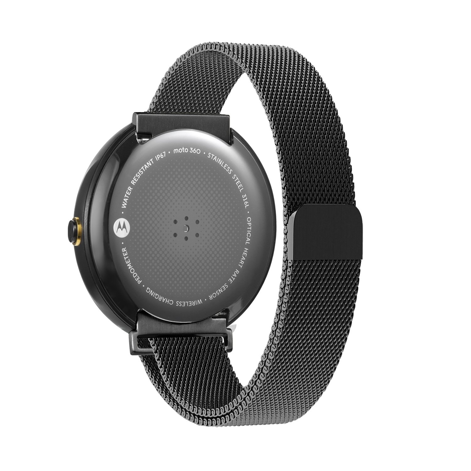 Oitom Watch bands Stailess Steel Milanese Magnetic Loop for Motorola Moto 360 1st 2014 Smartwatch (Black)