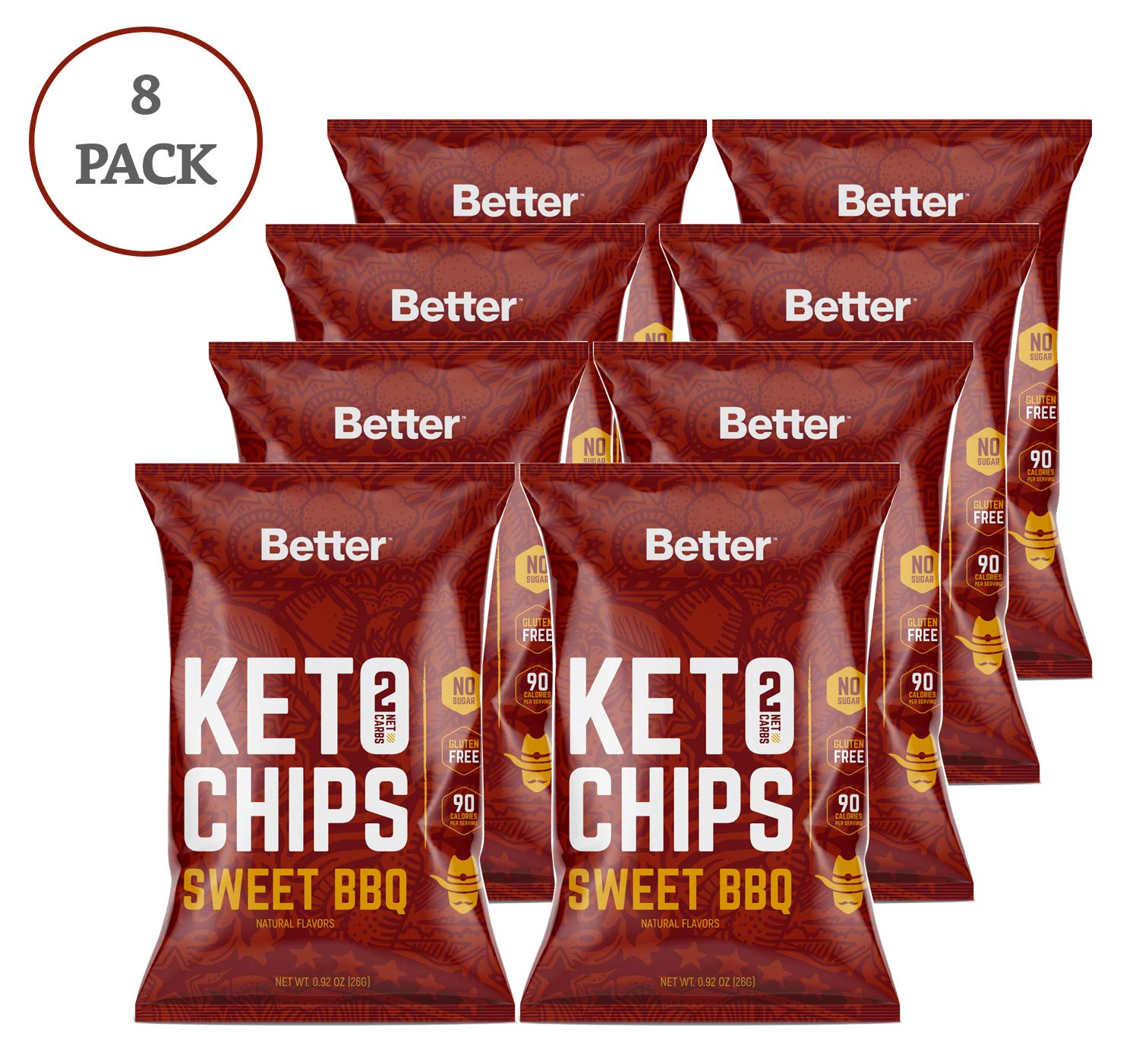 Keto Chips Sweet BBQ, Low Carb Crispy Chips, Healthy Diet Food Crunchy Delicious Gluten & Wheat Free by Real Ketones