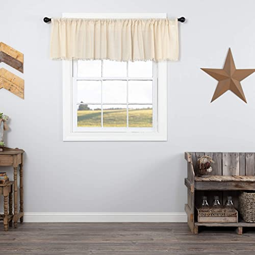 VHC Brands 8350 Tobacco Cloth Natural Valance Fringed 16×90