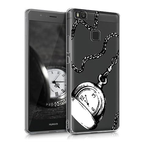 kwmobile Funda para Huawei P9 Lite - Carcasa Protectora de [TPU] con diseño de Reloj de Bolsillo en [Negro/Blanco/Transparente]