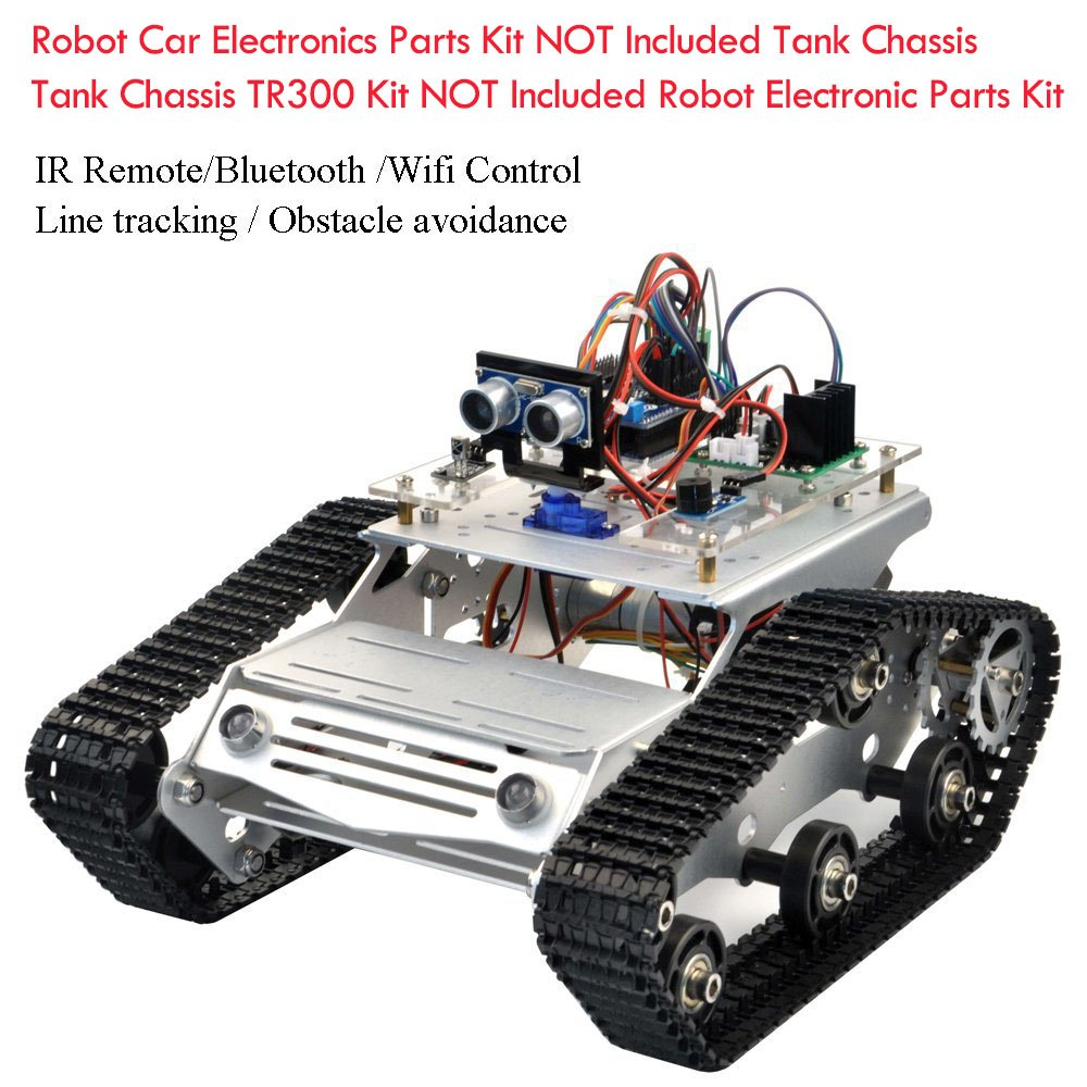 KOOKYE Robot Tank Car Kit Tank Chassis Platform Metal Stainless Steel 2DW  Motor 9V for Arduino / Raspberry Pi DIY (Silver Tank Chassis)