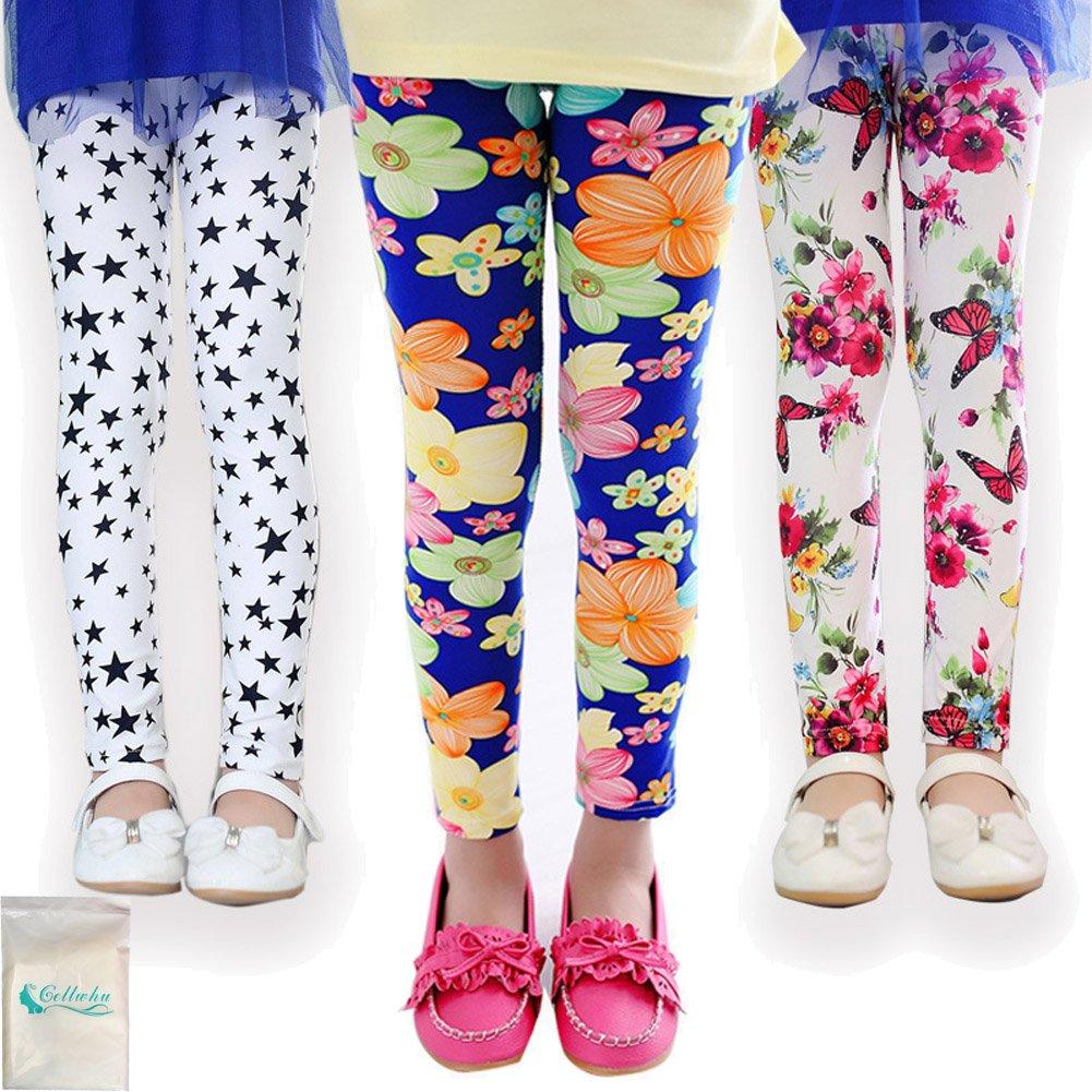 Gellwhu 3-Pack Girl Pants Printing Flower Toddler Kids Classic Leggings 2-13Y (6T-7T, Pack A)