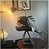 Creative Rustic USB Angler Fish Lamp Shark Lamp Handmade Unique Lamp LED Light,Floor-Standing USB Interface Retro Art Table L