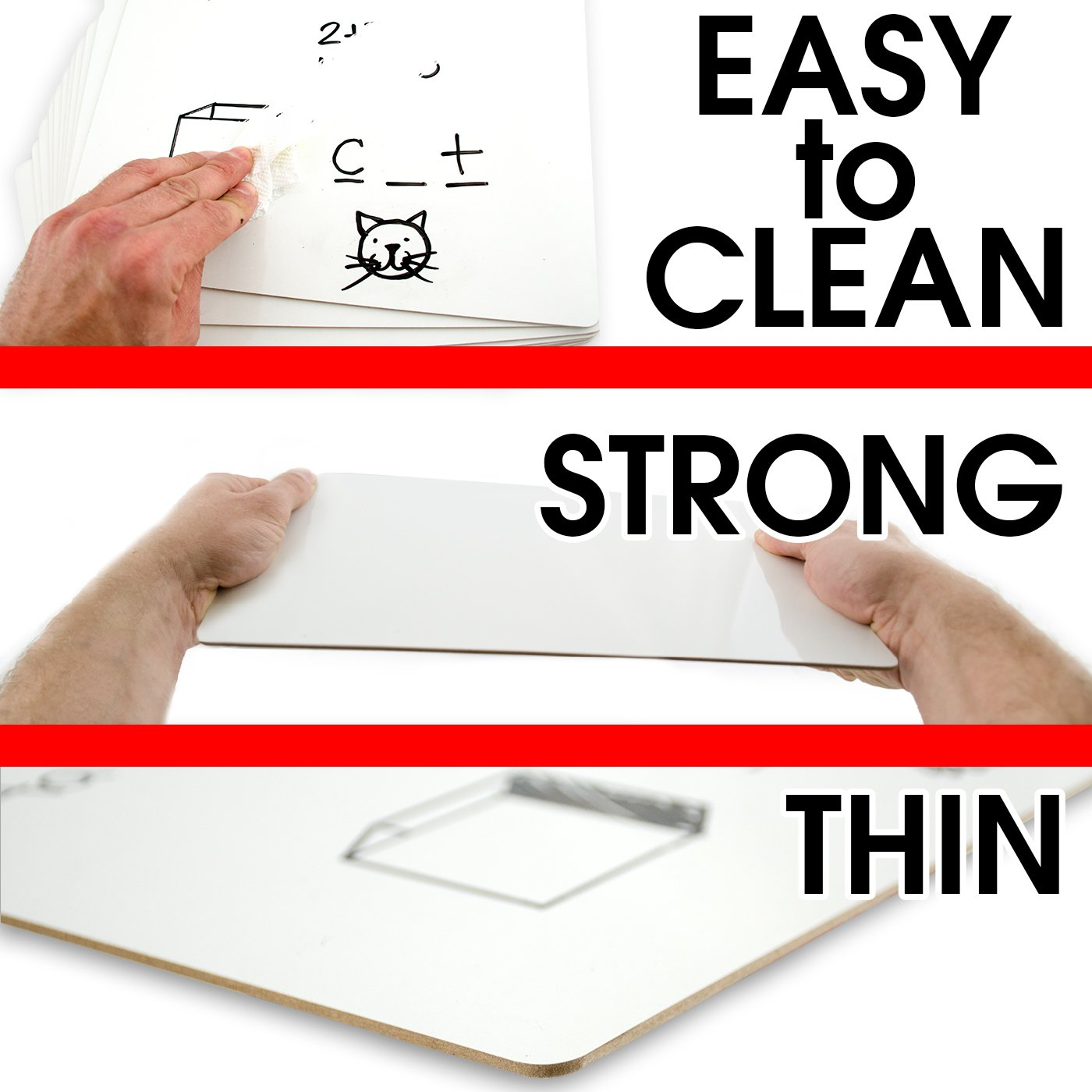 Dry Erase Lapboards | 9 x 12 inch Large Whiteboard | Pack of 25 White Board Set | Great for Teachers, Students, Children, Classroom | Reusable, Durable, Portable, Single Sided Whiteboard (25 Pack) by Board Geeks (Image #3)