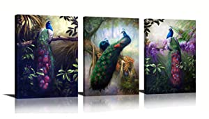 HLJ ART Modern Animal Peacock Wall Decor Painting Print on Canvas for Home and Office Lving Room Bedroom Decoration (Peacock-A, 16x24inchx3pcs)