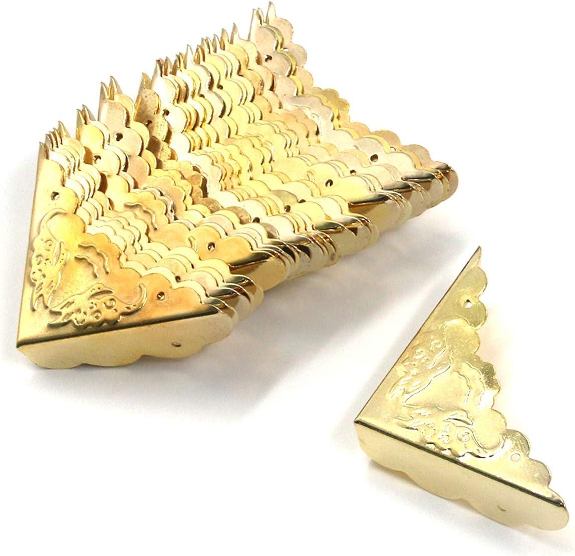 "Antrader Antique Decorative Box Corner Protector Edge Safety Furniture Corner Guard, 1.6"" x 1.6"" Gold Tone, Pack of 24"