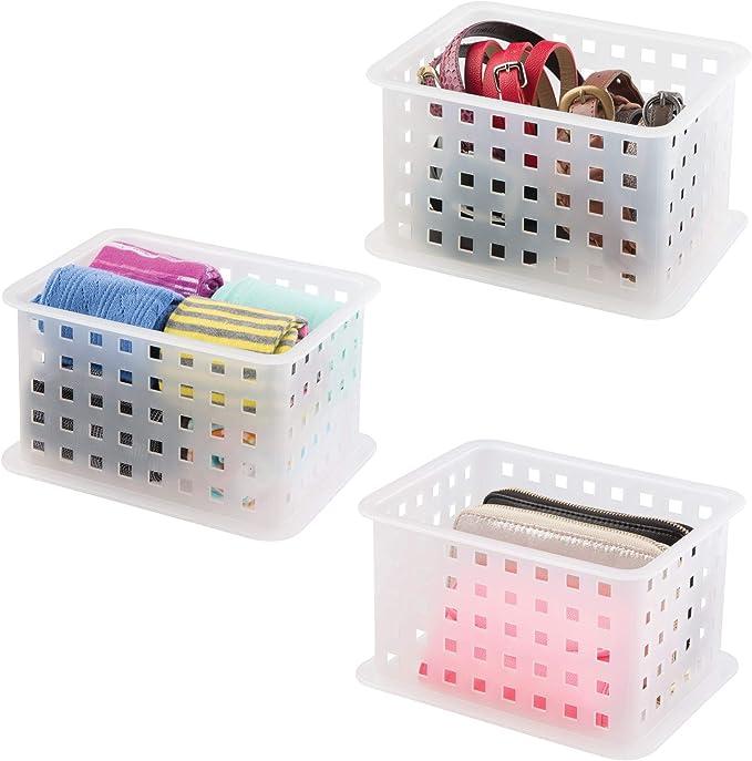 mDesign Juego de Tres Cajas para organizar armarios pequeñas ? Cajas Transparentes para el Armario ? Organizador de pañuelos, Calcetines, Cinturones, Bolsos y Otros Accesorios - Color: Transparente: Amazon.es: Hogar
