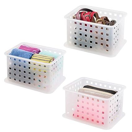 mDesign Juego de tres cajas para organizar armarios pequeñas ? Cajas transparentes para el armario ?