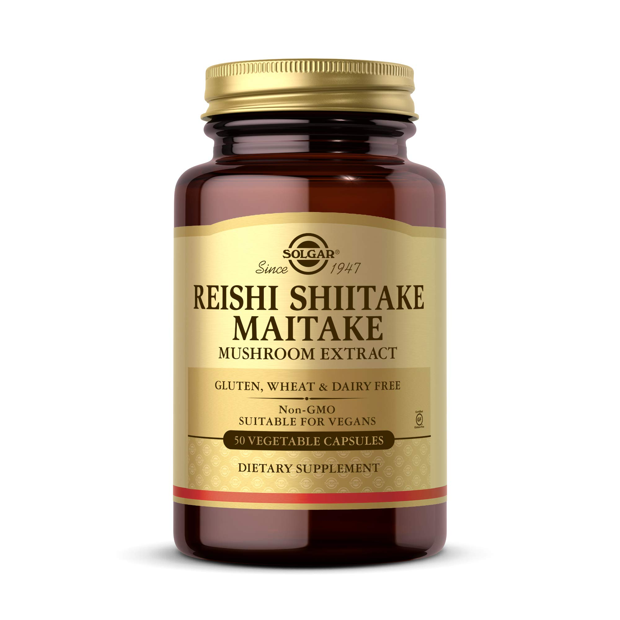 Solgar Multi-Mushroom Complex, 50 Vegetable Capsules - Reishi, Shiitake, Maitake Mushroom Extract - Natural Source of Beta Glucans - Non-GMO, Vegan, Gluten Free, Dairy Free - 50 Servings