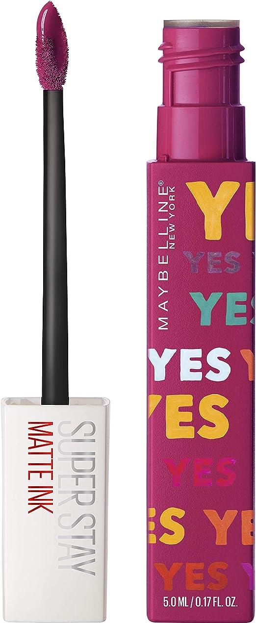 Maybelline New York - Superstay Matte Ink, Pintalabios Mate de Larga Duración, Edición Limitada Ashley Longshore, Tono 120 Artist, Color Rosa