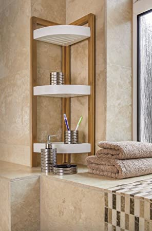Bamboo Tier Bathroom Free Standing Shower Corner Caddy Tidy