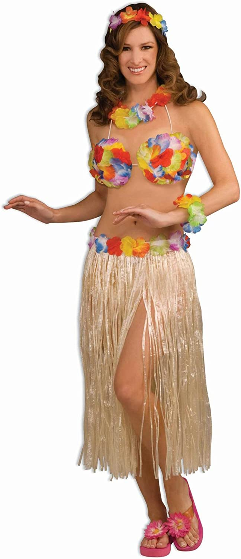 Red Hawaiian Lei Set Hawaï Hula Girl