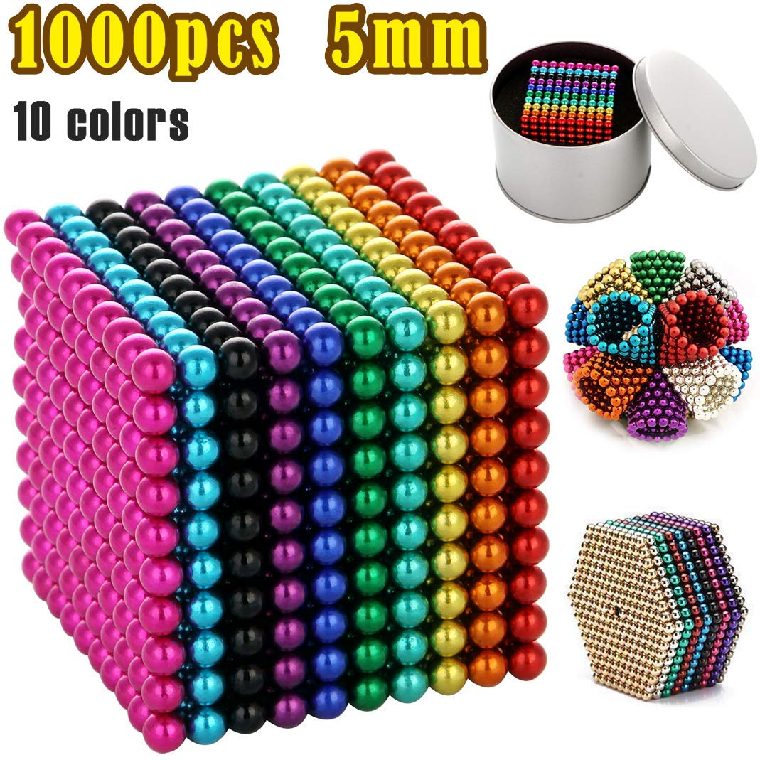 5MM 216 Pieces Magnetic Sculpture Magnet Building Blocks Fidget Gadget Toys for Stress Relief, Office and Home Desk Toys for Adults (1000pcs 10colors) by BOMTTY