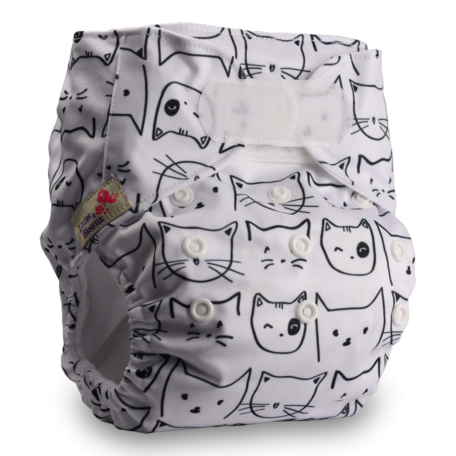 Fastener: Hook-Loop Pattern 61 Reusable Pocket Cloth Nappy Set of 1 Littles /& Bloomz with 1 Bamboo Charcoal Insert