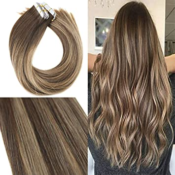 Youngsee 14inch Tape in Hair Extensions Balayage Brown Highlight with  Caramel Blonde 100% Remy