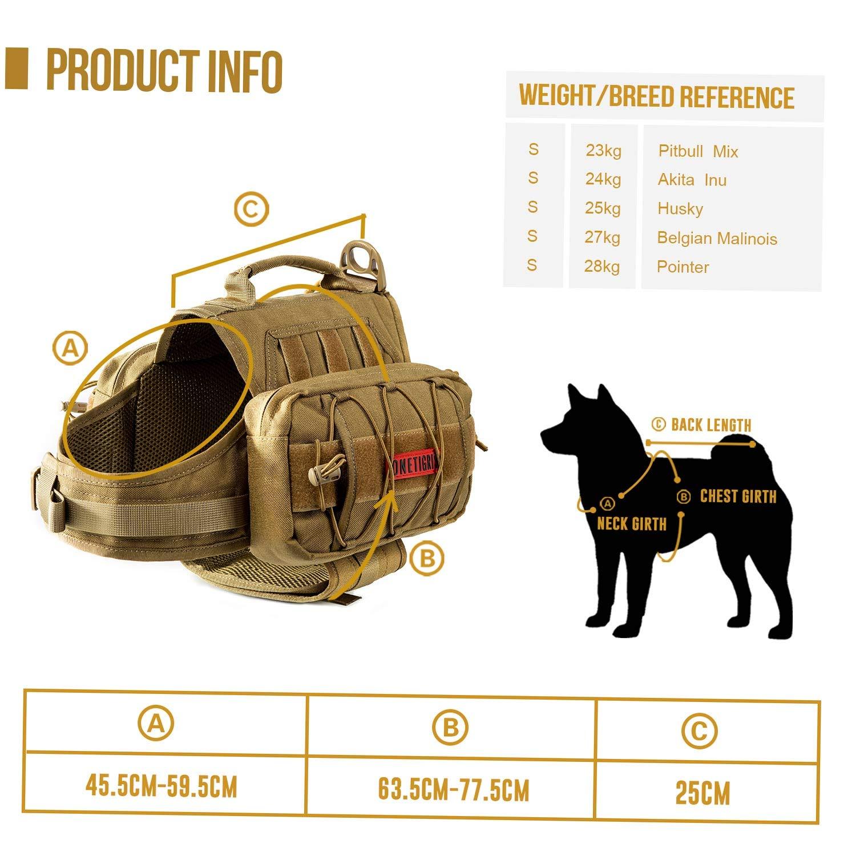 OneTigris Hunderucksack Rei/ßen Camping Wandern Hundebackpack f/ür S//M//L Gr/ö/ße Hunde MEHRWEG Verpackung