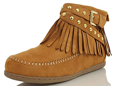 Amazon.com | Soda Women's Dahlia Faux Suede Moccasin Fringe Wedge ...