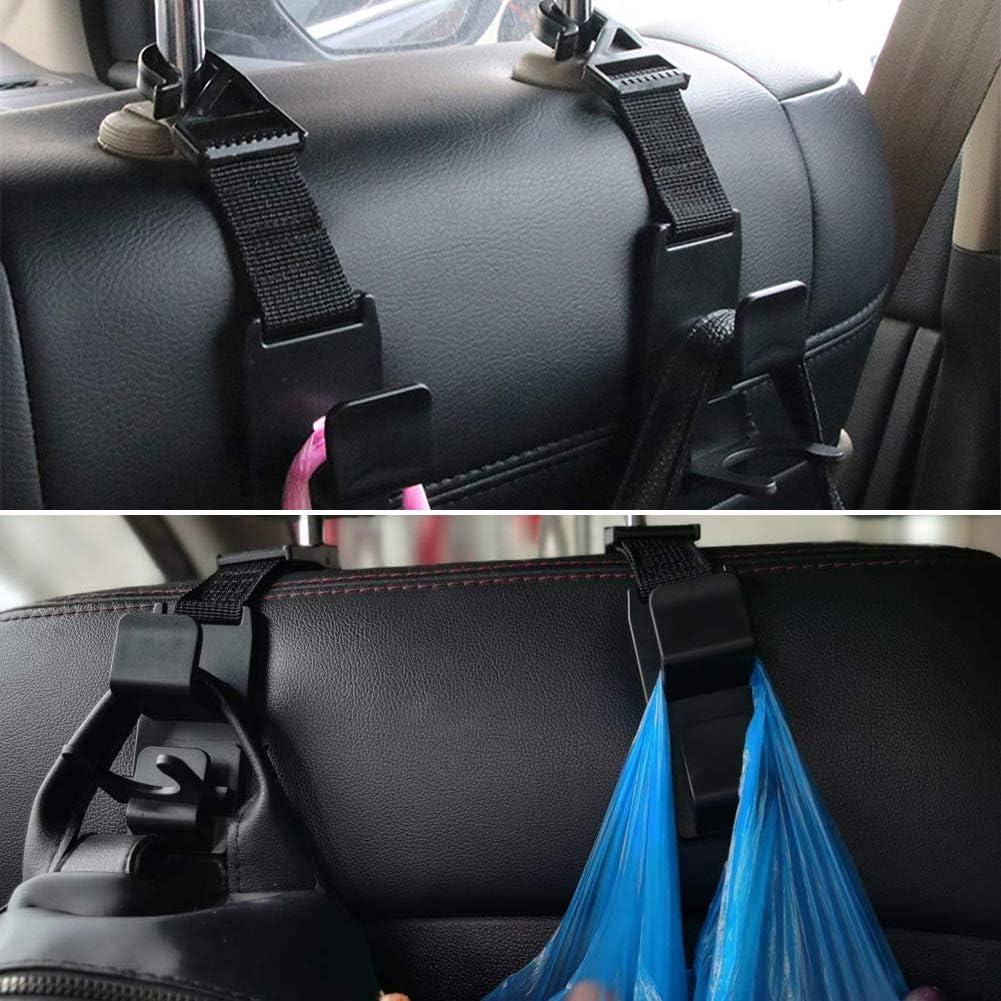 Auto Rücksitz Haken Universal Llmz 4 Pcs Rücksitz Kopfstütze Haken Für Einkaufstaschen Handtaschen Getränke Geldbeutel Lebensmittel Tasche Und Flaschenhalter Schwarz Auto