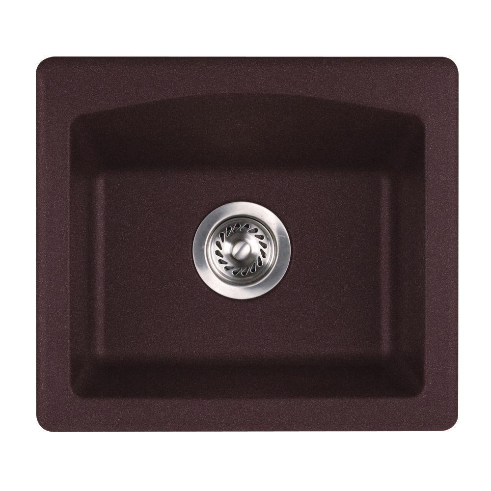 Swanstone QZBS-1816.170 Granite Dual Mount Single-Bowl Kitchen Sink, 16-in L X 18-in H X 7.5-in H, Espresso
