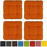 4x Cojines para silla decorativos - Capri - 40x40x8cm - muy cómodos y acolchados - naranja