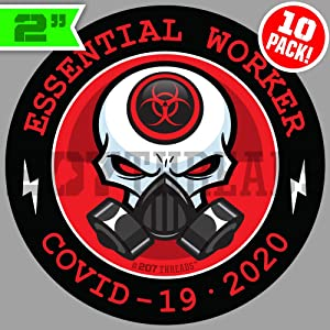 "10 PACK 2"" Essential Worker Stickers Hard Hat Decals Sticker Pack Nuclear RED Toxic Hazard 2 inch"