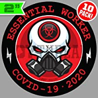 10 PACK 2″ Essential Worker Stickers Hard Hat Decals Sticker Pack Nuclear RED Toxic Hazard 2 inch
