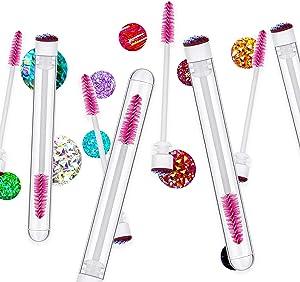 i-Laesh 20 Pcs disposable mascara brushes, Mascara Wands with Tube - Multi-color/Assorted color Diamond Lash wands, disposable mascara wands with tube