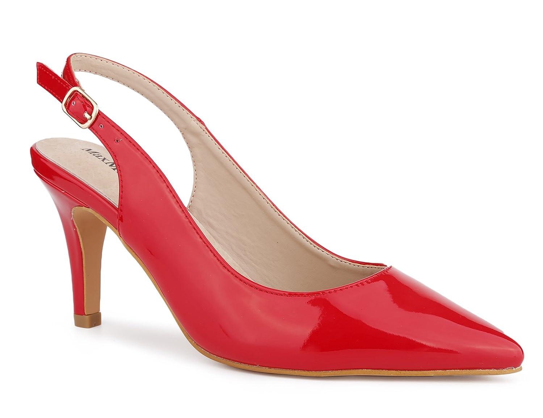 MaxMuxun Chaussures à Talon Aiguilles avec Boucle et Bande Pointue sur Le Côté Pointu Conception Élégante à Talon Ouvert pour Femmes 36-41 EU