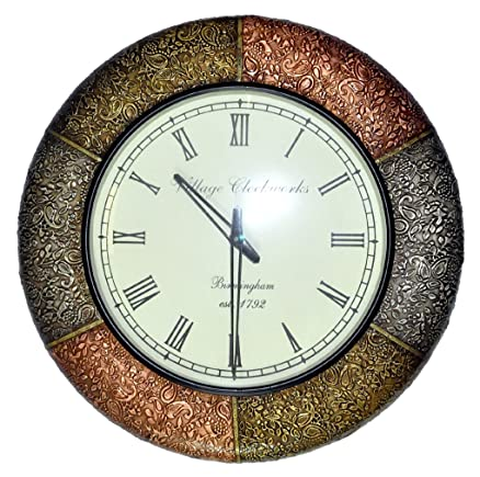 Buy Hnd00421 Traditional Indian Designer Decorative Wall Clock