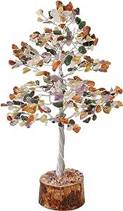 ZAICUS Gemstone Money Tree Feng Shui Bonsai Reiki Healing Stone Chakra Balancing Energy Generator Aura Cleansing Spiritual Gift Good Luck Home Office Decor (Mix Chakra Silver Wire 10 Inches)