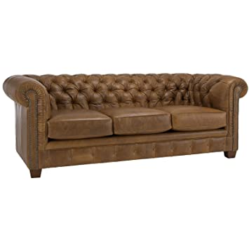 Delicieux Metro Shop Hancock Tufted Distressed Saddle Brown Italian Leather Sofa