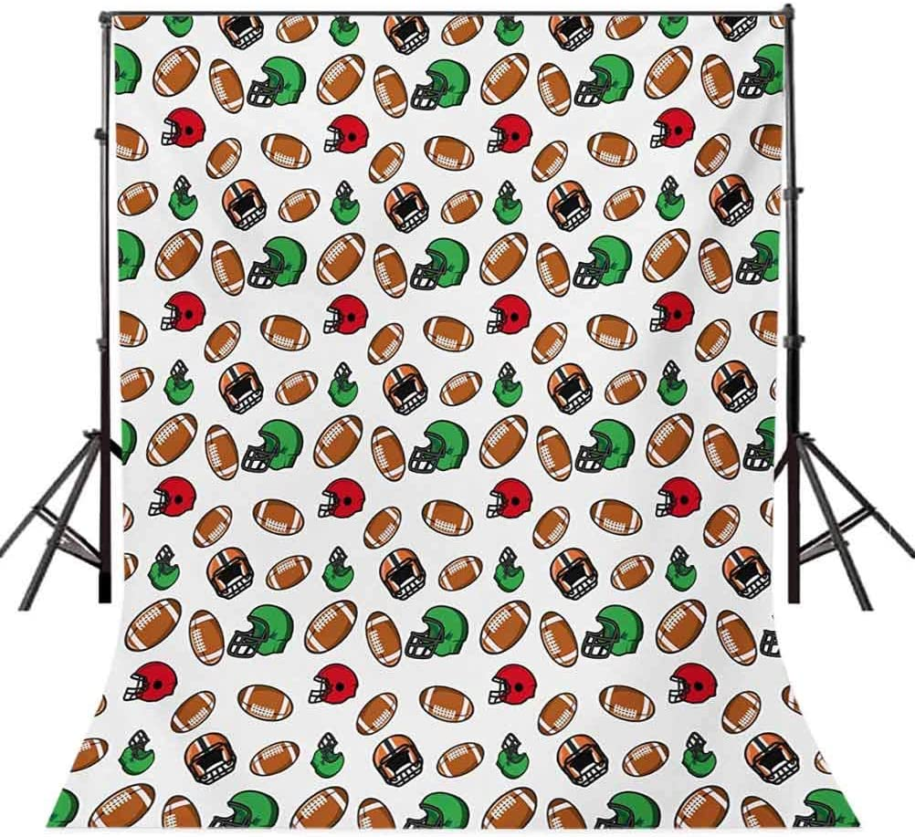 American Football 6x8 FT Photo Backdrops,Cartoon Style Rugby Icons Balls American Culture Competitive Game Sports Background for Party Home Decor Outdoorsy Theme Vinyl Shoot Props Multicolor