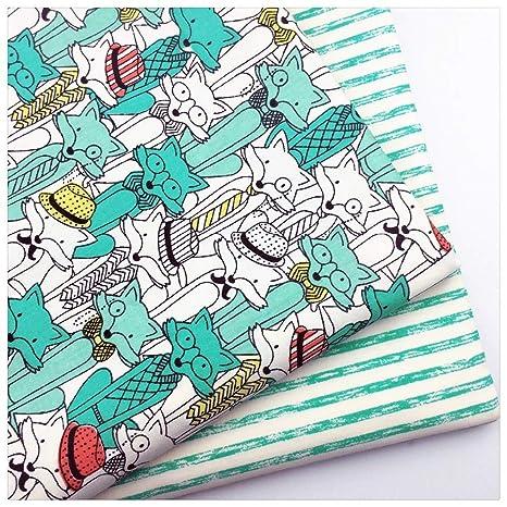 Pukido - Tela de sarga de algodón con diseño de zorro de ...