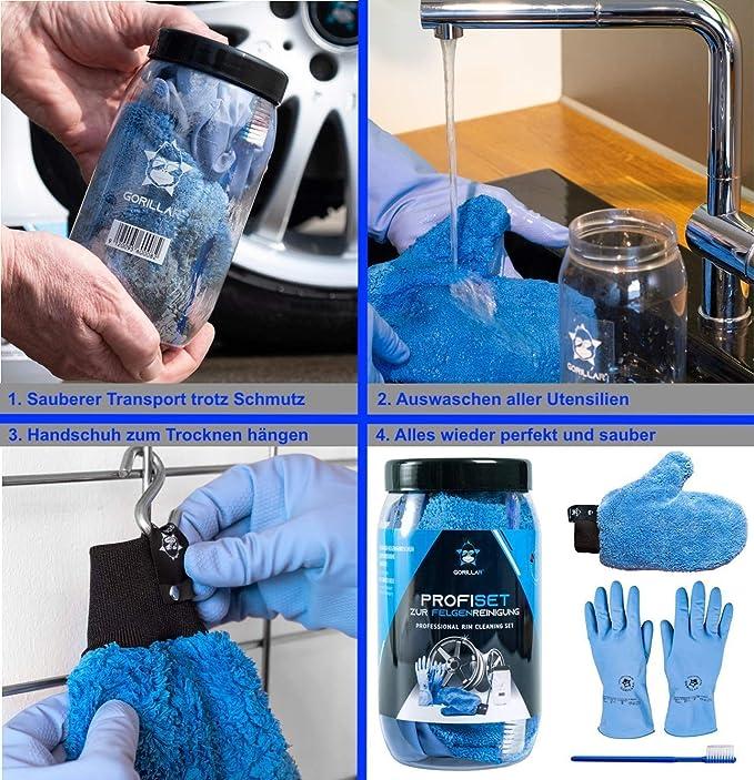 Gorillar Profi Set Zur Felgenreinigung Mikrofaser Felgenhandschuh Latexhandschuhe Felgenbürste Und Anti Schmutz Dose Für Die Reinigung Der Felgen Auto