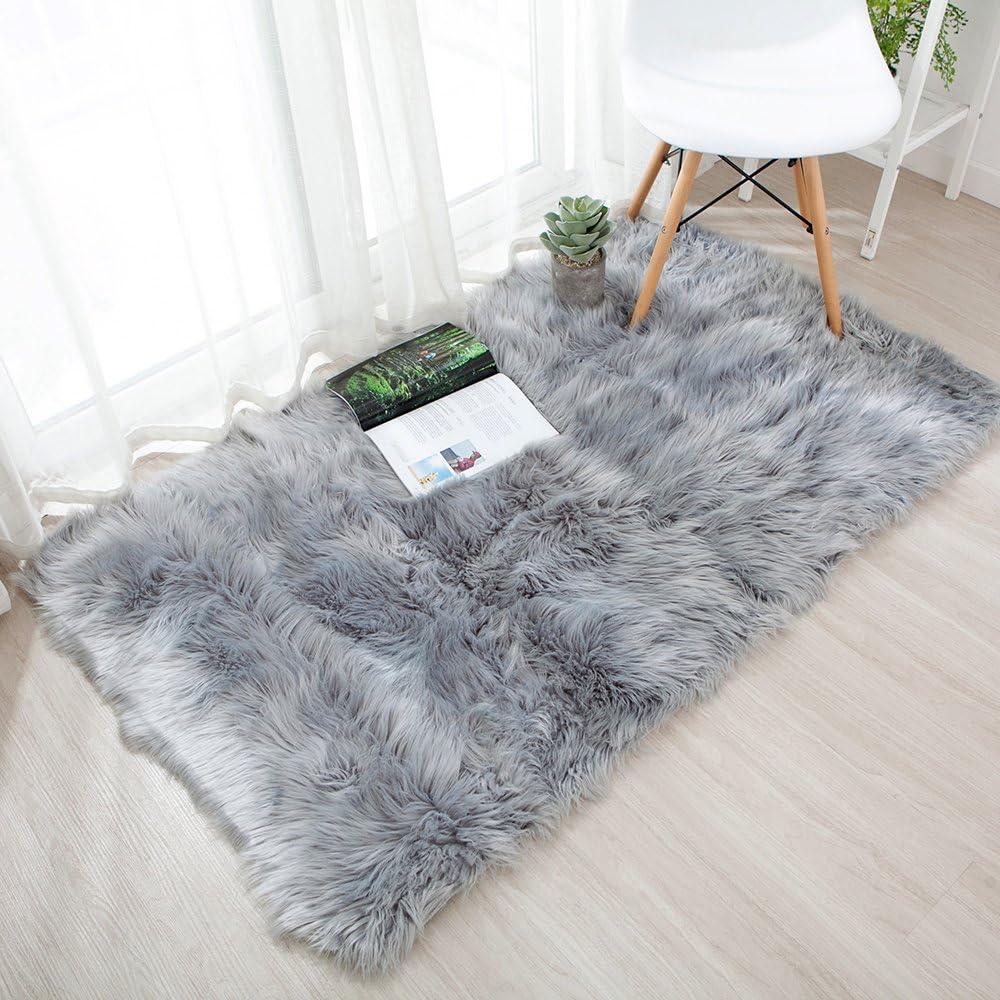 Modern Style Shaggy Rugs Mat Faux Fluffy Mat Bedroom Bedside Floor Carpet Pads