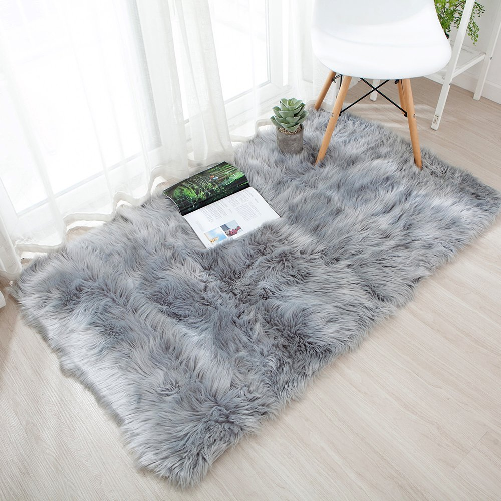 OJIA Deluxe Soft Fuzzy Fur Rugs Faux Sheepskin Shaggy Area Rugs Fluffy Modern Kids Carpet for Living Room Bedroom Sofa Bedside Decor(2 x 3ft, Grey) by OJIA