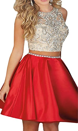Ivy Beaded Two Pieces Prom Dresses Stain Short Homecoming Dresses
