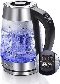Aigostar Cris - Hervidor de agua, vidrio de borosilicato con infusor de té, 5 niveles de tempera...