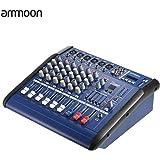 ammoon 6 Canales Digitales Línea Mic Consola de Mezclas de Audio Amplificador Power Mixer con 48V de Alimentación Phantom Ranura de USB / SD para la Grabación de DJ Etapa Karaoke
