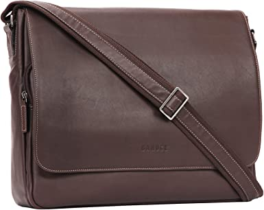 """Men/'s Vintage Leather Messenger Shoulder Bag 14/"""" Laptop Briefcase Satchel Tote"""