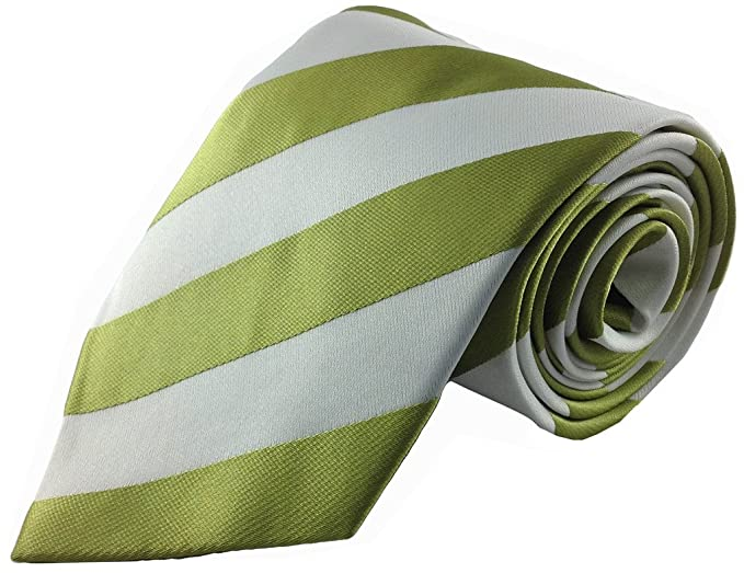 0e5095556b68 Image Unavailable. Image not available for. Color: Mens Tie Green Olive  with White Classic College Stripe Silk Fashion Necktie
