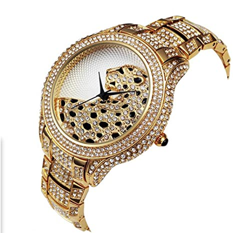 Amazon.com: Sheli Womens Big Special Leopard Feature Dial Bling Full Crystal Gold Plated Metal Watch,45mm: Watches