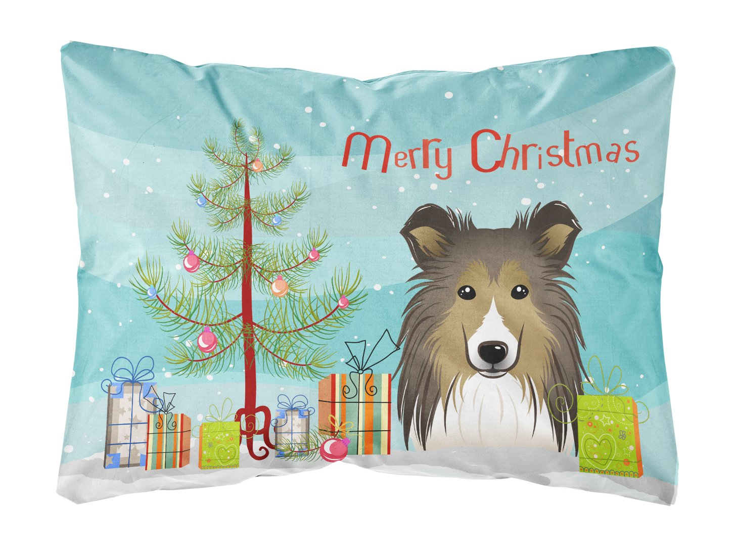 Caroline s Treasures BB1614PW1216 Christmas Tree Sheltie Fabric Decorative Pillow, Large, Multicolor