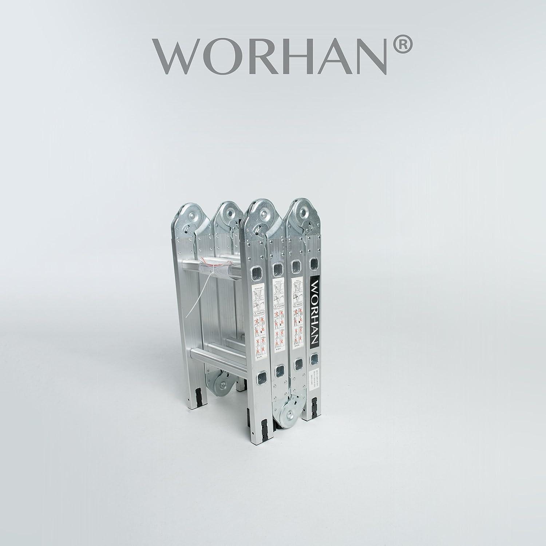 WORHAN® 2.5m Escalera Multiuso Multifuncional Plegable Tijera Aluminio con 2 Estabilizadores Nueva Generación Calidad Alta KS2.5: Amazon.es: Bricolaje y herramientas